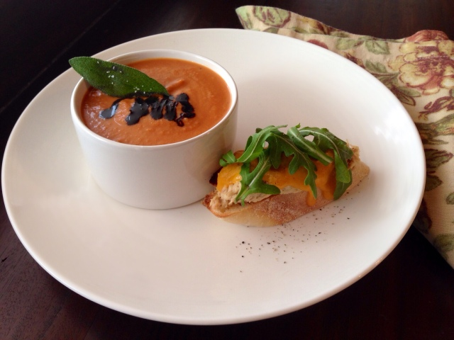 Zesty Tomato Soup with Balsamic Reduction and Fried Sage