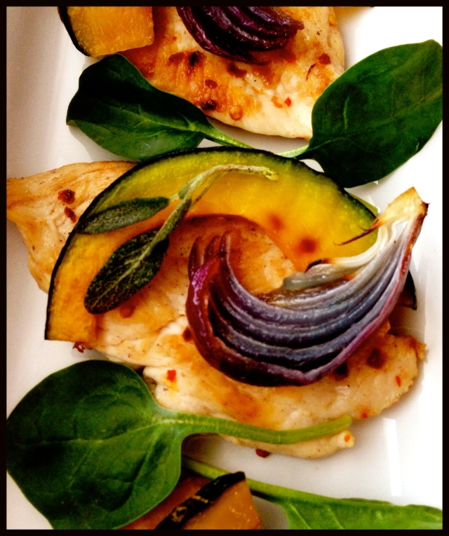 Chicken Paillards with Squash & Spinach